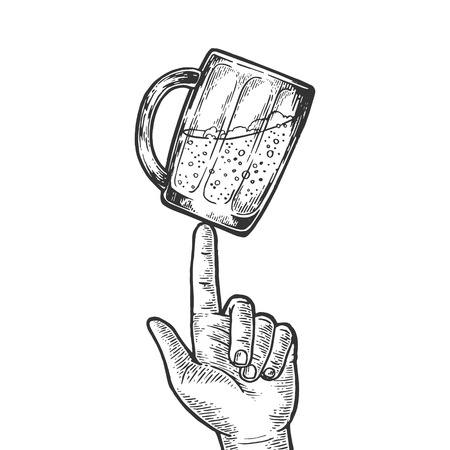 Beer glass cup spinning on finger engraving vector illustration. Scratch board style imitation. Black and white hand drawn image.