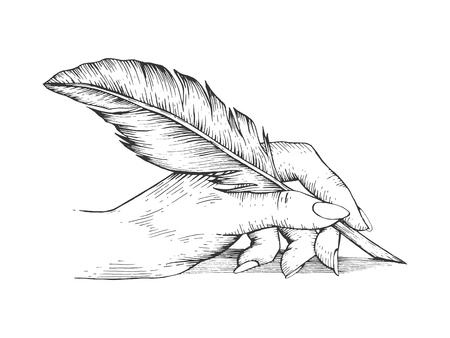 Main qui écrit avec stylo plume croquis gravure illustration vectorielle. Imitation de style planche à gratter. Image dessinée à la main. Vecteurs