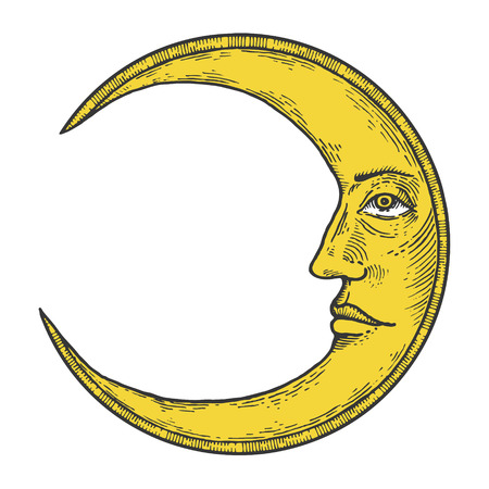 Moon with face color sketch engraving vector illustration. Scratch board style imitation. Hand drawn image. 向量圖像