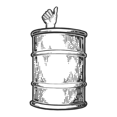 Thumb up in oil barrel engraving vector illustration. Scratch board style imitation. Black and white hand drawn image.