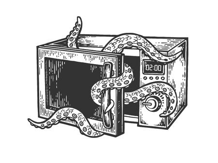 Octopus Meerestier steigt aus der Mikrowellen-Skizzen-Gravur-Vektor-Illustration. Nachahmung im Scratchboard-Stil. Handgezeichnetes Bild. Vektorgrafik