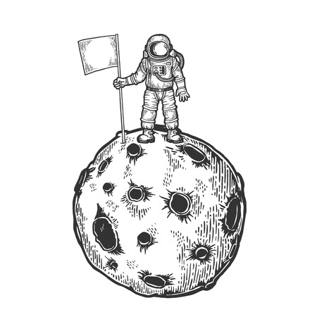 Astronaut spaceman with flag on planet with impact craters sketch engraving vector illustration. Scratch board style imitation. Black and white hand drawn image.