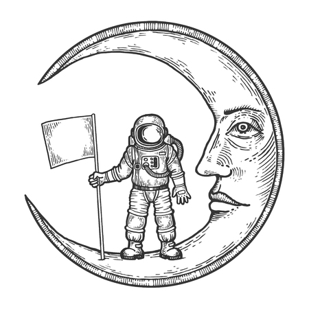 Astronaut spaceman with flag on cartoon moon with face sketch engraving vector illustration. Scratch board style imitation. Black and white hand drawn image.