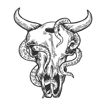 Octopus in cow skull sketch engraving vector illustration. Scratch board style imitation. Black and white hand drawn image.