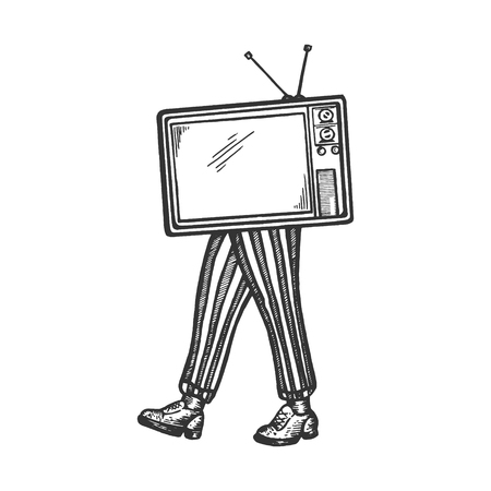 TV walks on its feet sketch engraving vector illustration. Scratch board style imitation. Black and white hand drawn image.