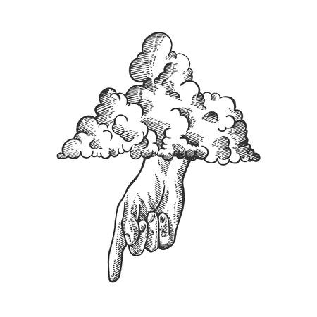 Main de Dieu dans le ciel nuage croquis illustration vectorielle de gravure. Imitation de style planche à gratter. Image dessinée à la main en noir et blanc.