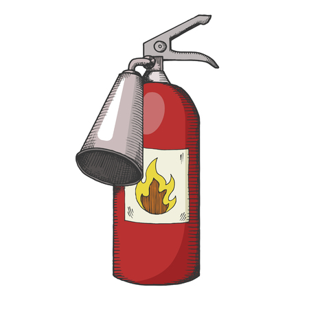 Fire extinguisher color sketch engraving vector illustration. Scratch board style imitation. Hand drawn image.