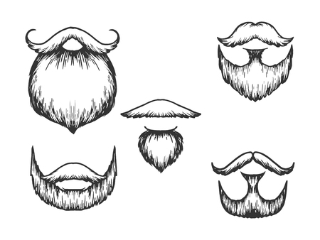 Beard and moustache sketch engraving vector illustration. Scratch board style imitation. Black and white hand drawn image.