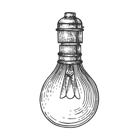 Electric lamp sketch engraving vector illustration. Scratch board style imitation. Hand drawn image.