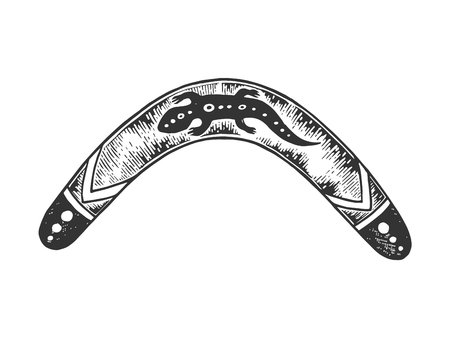 Boomerang weapon sketch engraving vector illustration. Scratch board style imitation. Black and white hand drawn image.