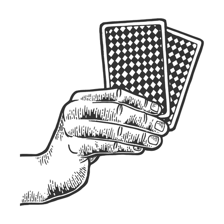 Poker playing cards in hands sketch engraving vector illustration. Scratch board style imitation. Black and white hand drawn image.