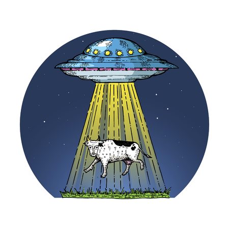 UFO kidnaps the cow color sketch engraving vector illustration. Scratch board style imitation. Hand drawn image. Illustration