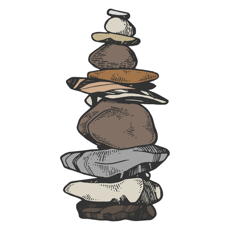 Tower of balancing stones color sketch engraving vector illustration. Scratch board style imitation. Black and white hand drawn image.