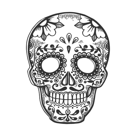 Mexican mask day of dead vintage sketch engraving vector illustration. Scratch board style imitation. Black and white hand drawn image. Ilustração