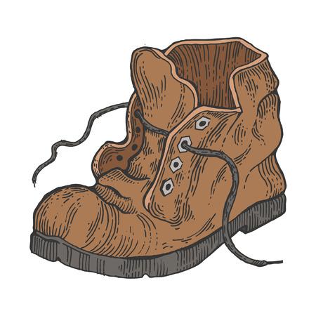 Vecchio squallido boot colore schizzo incisione illustrazione vettoriale. Imitazione di stile scratch board. Immagine disegnata a mano.