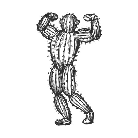 Cactus man posing sketch engraving vector illustration. Scratch board style imitation. Black and white hand drawn image.
