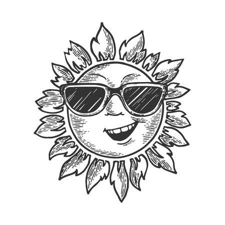 Cartoon sun with face in sunglasses sketch engraving vector illustration. Scratch board style imitation. Black and white hand drawn image. Ilustrace