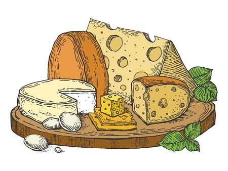 Plato de queso color dibujo grabado ilustración vectorial. Imitación de tablero de rascar. Imagen dibujada a mano.