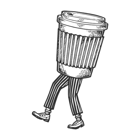 Disposable cup of coffee walks on its feet sketch engraving vector illustration. Scratch board style imitation. Black and white hand drawn image.