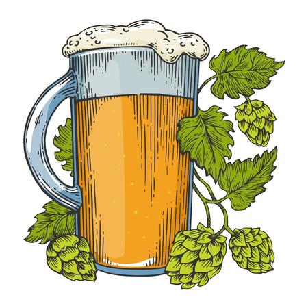 Boccale di birra e luppolo pianta colore schizzo incisione illustrazione vettoriale. Imitazione di stile scratch board. Immagine disegnata a mano in bianco e nero. Vettoriali