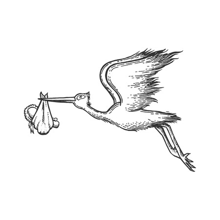 Stork carry baby sketch engraving vector illustration. Scratch board style imitation. Hand drawn image. Standard-Bild - 117963164