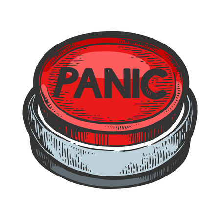 Panic button color sketch engraving vector illustration. Scratch board style imitation. Black and white hand drawn image.