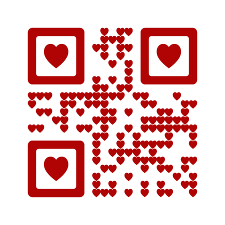 I love you words qr code abstract vector illustration. Red Heart symbol Çizim