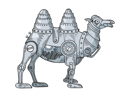 Mechanical camel animal color sketch engraving vector illustration. Scratch board style imitation. Black and white hand drawn image. Ilustração
