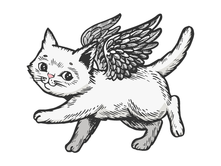 Angel flying kitten color white sketch engraving vector illustration. Scratch board style imitation. Black and white hand drawn image. Illustration