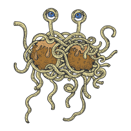 Flying spaghetti monster color sketch engraving vector illustration. Scratch board style imitation. Hand drawn image. Illustration