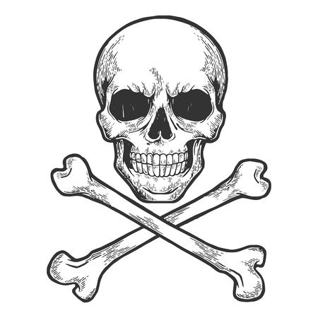 Teschio con ossa incrociate. Simbolo del pirata Jolly Roger schizzo incisione illustrazione vettoriale. Imitazione di stile scratch board. Immagine disegnata a mano. Vettoriali