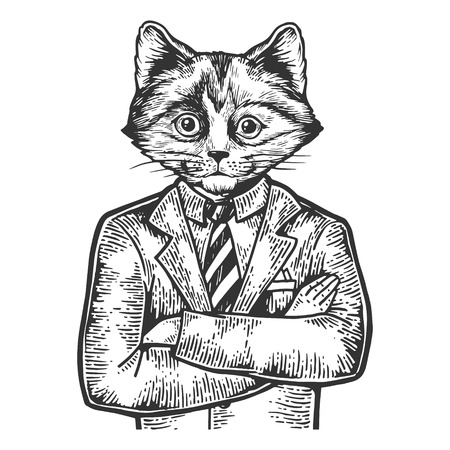 Kitten head businessman sketch engraving vector illustration. Scratch board style imitation. Black and white hand drawn image.  イラスト・ベクター素材