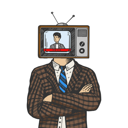 TV head of man color sketch engraving vector illustration. Scratch board style imitation. Black and white hand drawn image.