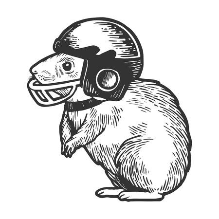 Hamster in football helmet sketch engraving vector illustration. Scratch board style imitation. Hand drawn image.