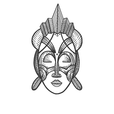 African mask of savages sketch engraving vector illustration. Scratch board style imitation. Hand drawn image.