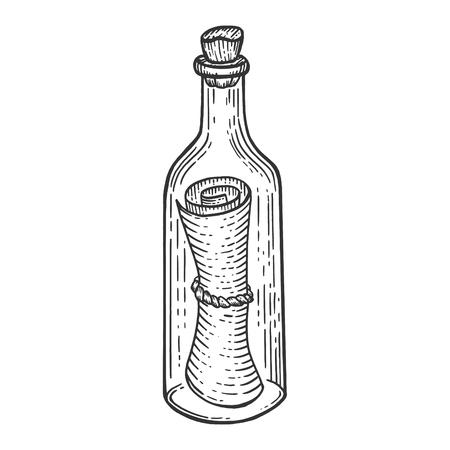 Messaggio in bottiglia schizzo incisione illustrazione vettoriale. Imitazione di stile scratch board. Immagine disegnata a mano. Vettoriali
