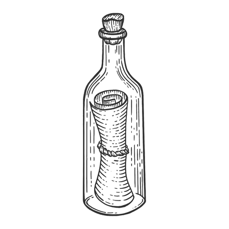 Message in bottle sketch engraving vector illustration. Scratch board style imitation. Hand drawn image.