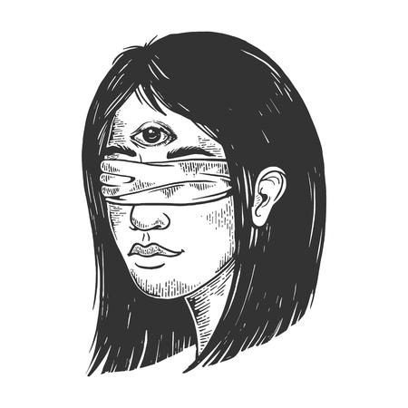 Geblinddoekte helderziende jonge vrouw met drie ogen voorhoofd vintage schets gravure vectorillustratie. Imitatie in de stijl van een krasbord. Zwart-wit hand getekende afbeelding. Vector Illustratie