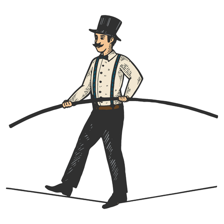 Man circus ropewalker color sketch engraving vector illustration. Scratch board style imitation. Black and white hand drawn image.