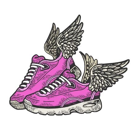 Flying sneakers with wings color sketch engraving vector illustration. Scratch board style imitation. Black and white hand drawn image. Standard-Bild - 124033490