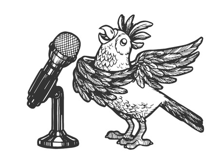 Cartoon singing parrot with microphone sketch engraving vector illustration. Scratch board style imitation. Hand drawn image. Illusztráció