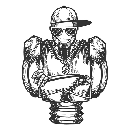 Cyborg robot metal hip-hop rapper sketch engraving vector illustration. Scratch board style imitation. Black and white hand drawn image.  イラスト・ベクター素材