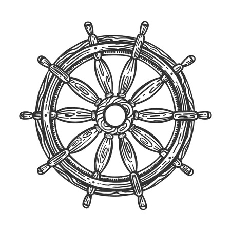 Ship steering wheel sketch engraving vector illustration. Scratch board style imitation. Hand drawn image.
