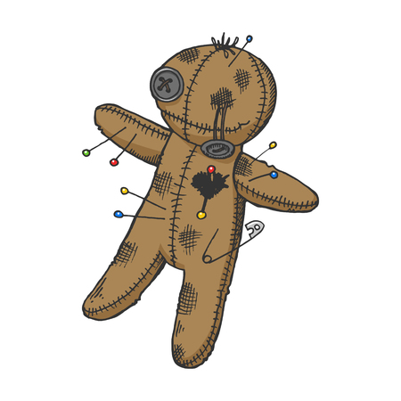 Voodoo doll color sketch engraving vector illustration. Scratch board style imitation. Hand drawn image. Illustration