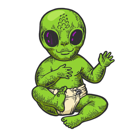 Alien baby kid in diaper napkin color sketch engraving vector illustration. Scratch board style imitation. Black and white hand drawn image.
