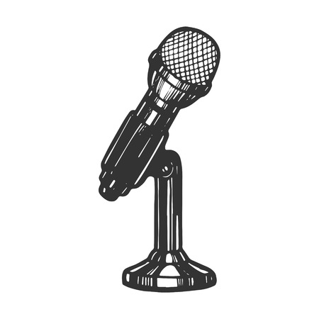 Microphone device sketch engraving vector illustration. Scratch board style imitation. Hand drawn image. Ilustração