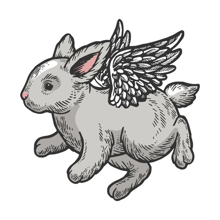 Angel flying baby little rabbit bunny color sketch engraving vector illustration. Scratch board style imitation. Black and white hand drawn image.