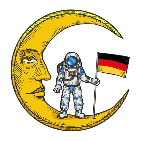 Astronaut spaceman with German flag on cartoon moon with face color sketch engraving vector illustration. Scratch board style imitation. Black and white hand drawn image. Stock Illustratie
