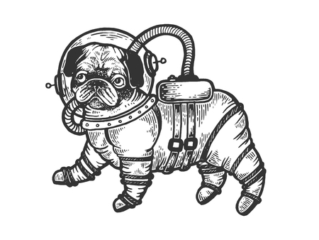 Pug puppy in armour space suit sketch engraving vector illustration. Scratch board style imitation. Black and white hand drawn image. Illustration