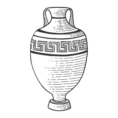 Amphore grecque antique croquis gravure illustration vectorielle. Imitation de style planche à gratter. Image dessinée à la main. Vecteurs
